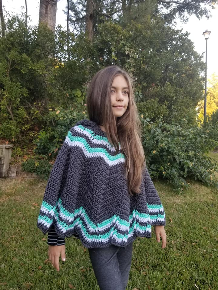 Free Crochet Poncho Pattern- child sizes- Big Mountain
