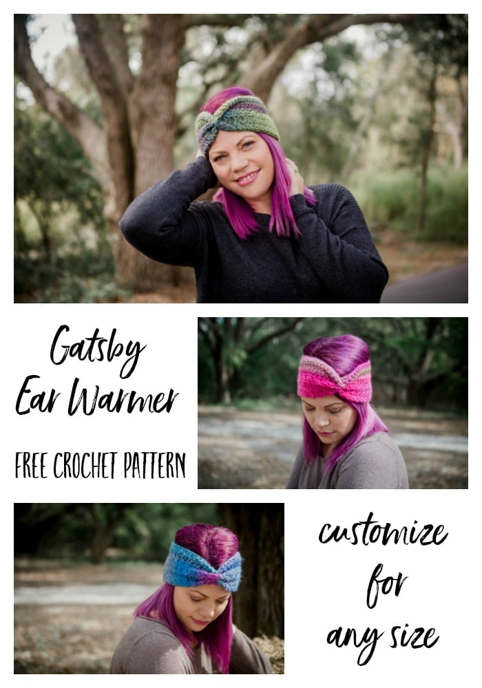 This fun textured ear warmer can easily be customized to fit anyone, instructions included. Easily made, the Gatsby Ear Warmer is worked with a unique combination of stitches worked in two directions.  Cinch at the center for that Great Gatsby era look. Not only does this design work up quickly but you can make two from each skein of Colorscape. You can also substitute any yarn and hook to change up the look of the finished design.