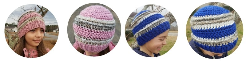 <center><strong>Galactica Beanie in Soft Blush and Royal Blue both with Somersault</center></strong>